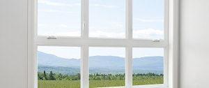 Uitzicht uit ramen en kozijn